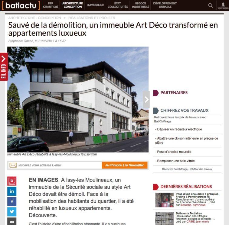 article Batiactu, Macassar, Esprimm, Issy-les-Moulineaux