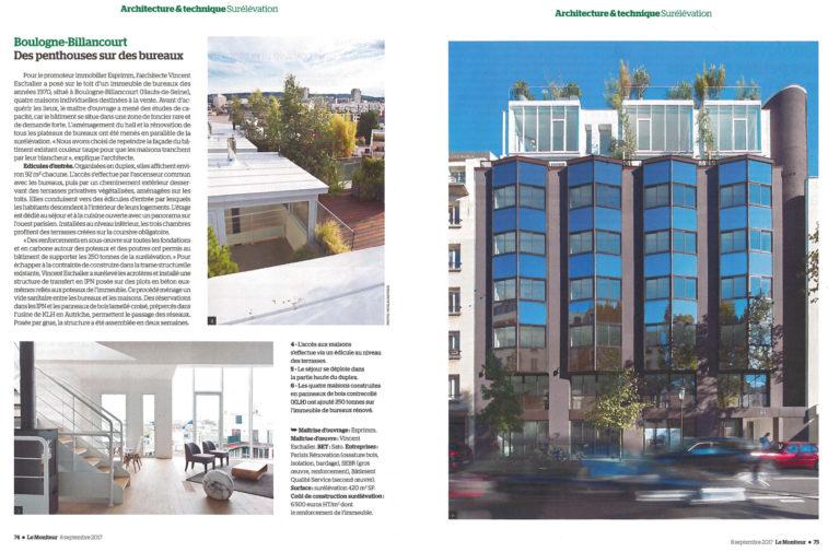 Article Le Moniteur, Penthouses sur des Bureaux, Boulogne-Billancourt, Esprimm, septembre 2017