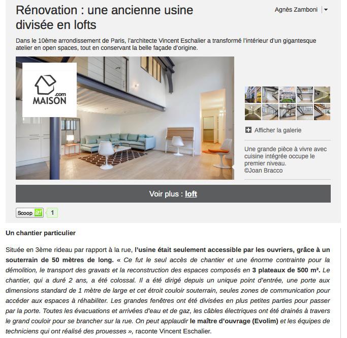 article Maison.com sur Les Ateliers de Hauteville par Esprimm