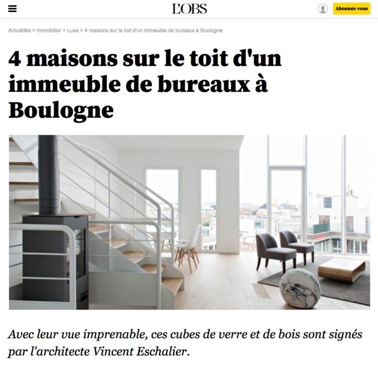 Article L'Obs, 4 maisons sur le toit d'un immeuble de bureaux à Boulogne