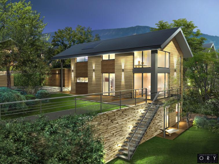 Modélisation 3D d'une maison à ossature bois à Vétraz, label BBC