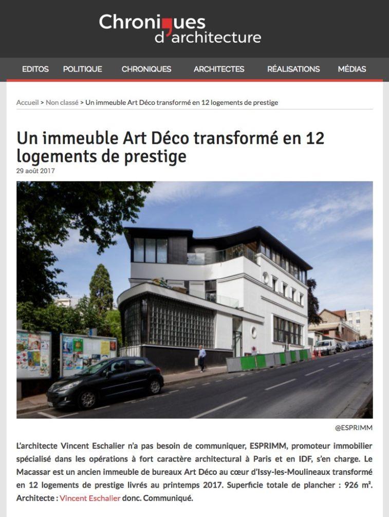 Coupures de presse, Chroniques d'architecture, Macassar, Esprimm