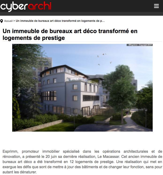 Article sur Le Macassar dans le blog Cyberarchi, Esprimm, Issy les Moulineaux
