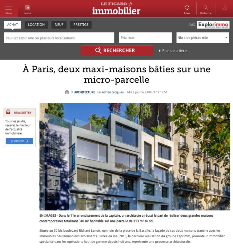 article Figaro Immobilier, 50 bd Richard Lenoir Paris, Esprimm