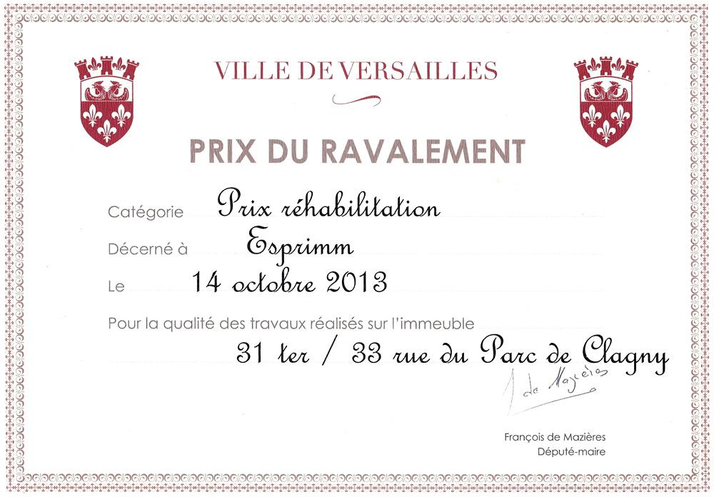 Prix du ravalement - Ville de Versailles - Réhabilitation
