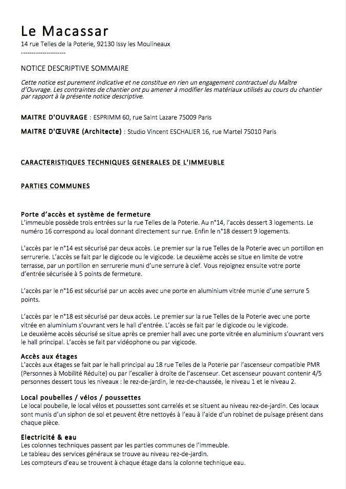 Notice descriptive Macassar Esprimm, Issy, 92