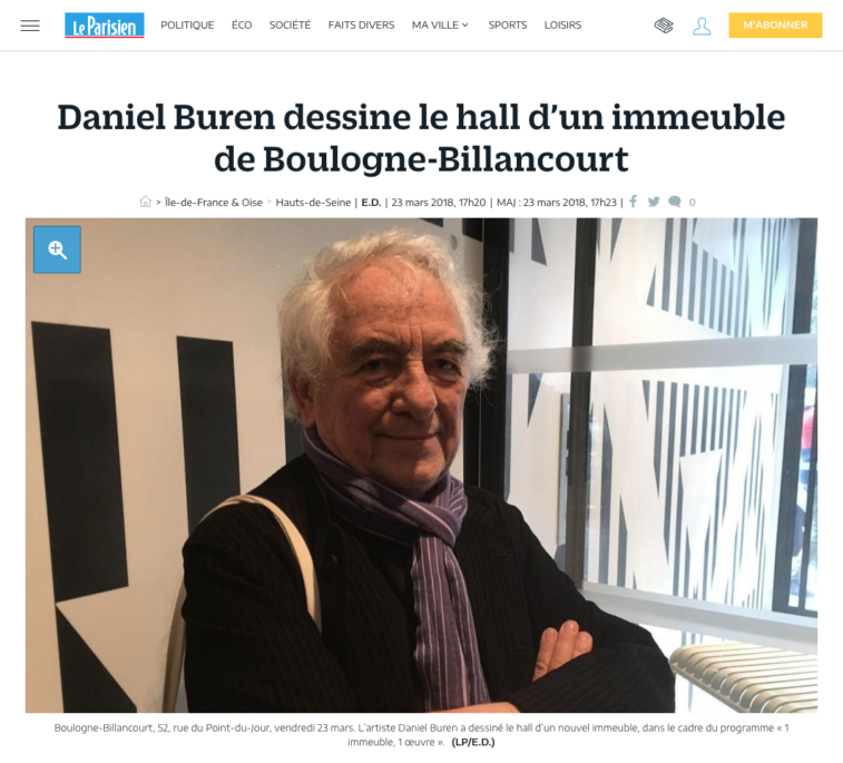 Article press Le Parisien Esprimm, hall Buren, Boulogne