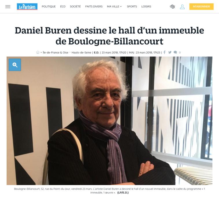 Article press Le Parisien Esprimm, hall Buren, Boulogne