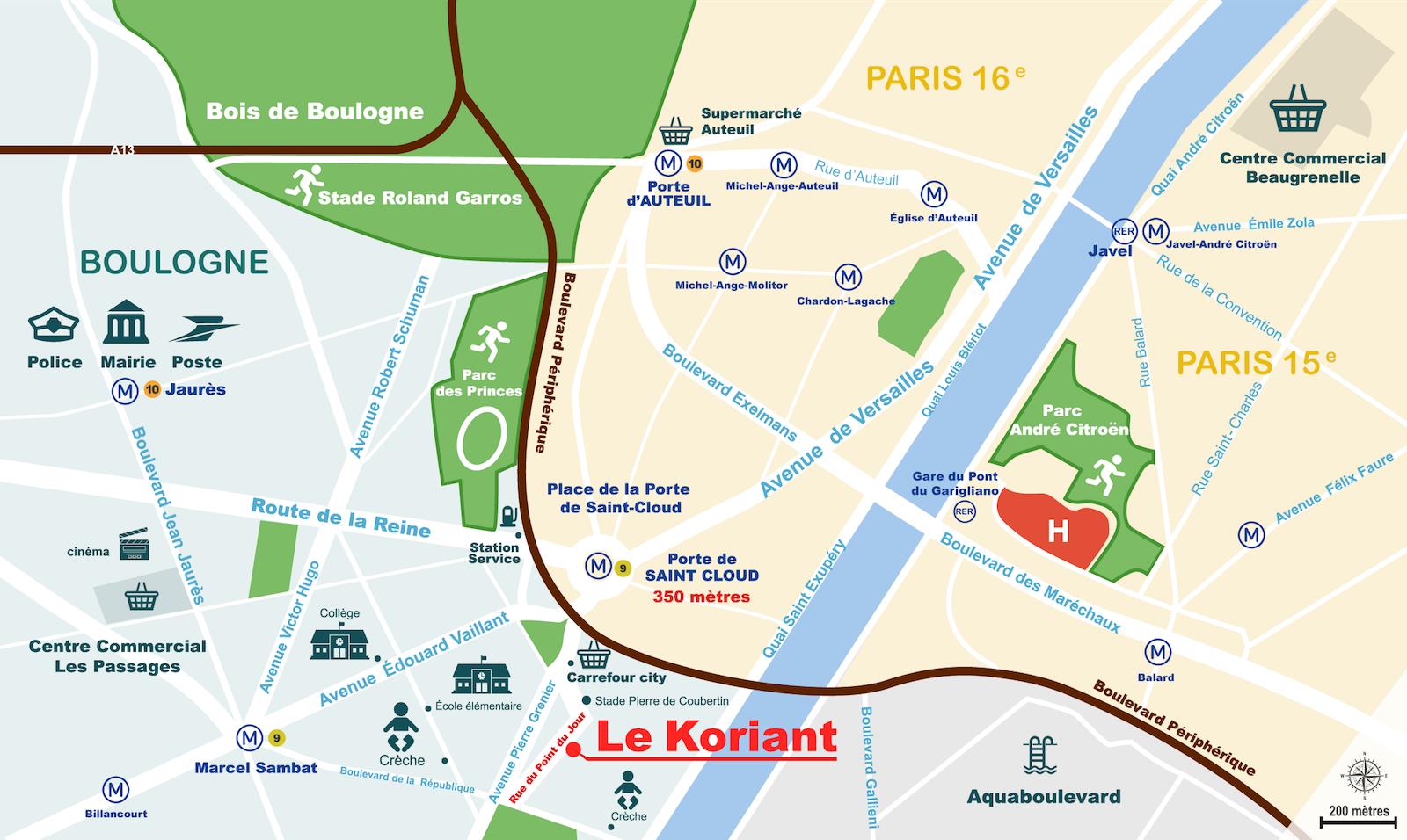 Plan Le Koriant, 52 rue du Point du Jour, Boulogne-Billacourt, Esprimm